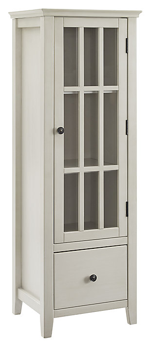 White Largo Antique Glass Door Cabinet, White, large