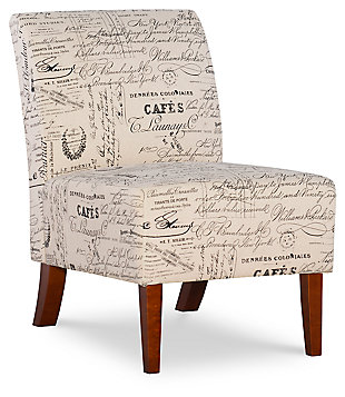 Sandy Script Accent Chair, White/Gray, large