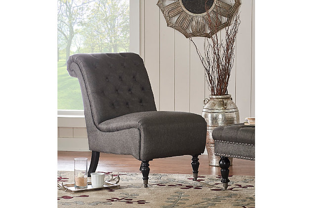 Charcoal Cora Roll Back Tufted Chair, , large