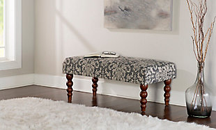 Gray Damask Bench, , rollover