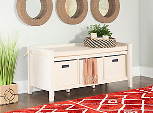 Cream Palm Entryway Bench, , rollover