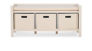 Cream Palm Entryway Bench, , large