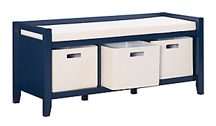 Navy Palm Entryway Bench, , rollover