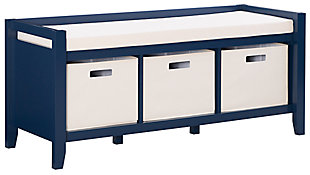 Navy Palm Entryway Bench, , large