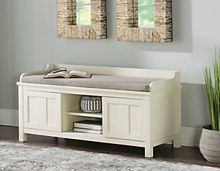 White Macon Storage Bench, , rollover
