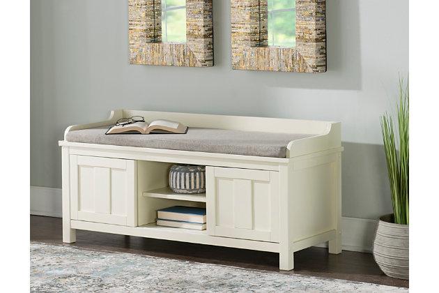 White Macon Storage Bench, , large