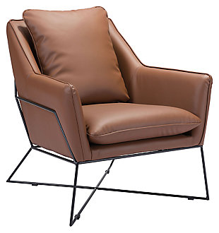Modern Lincoln Saddle Lounge Chair, Brown, large