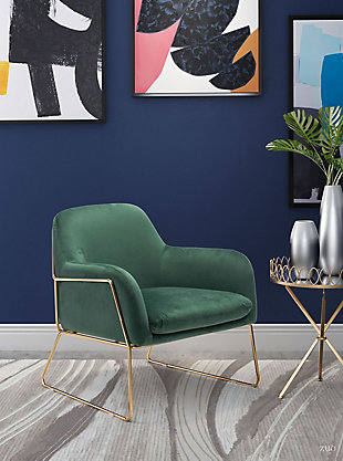 Modern Nadir Green Arm Chair, Green, rollover