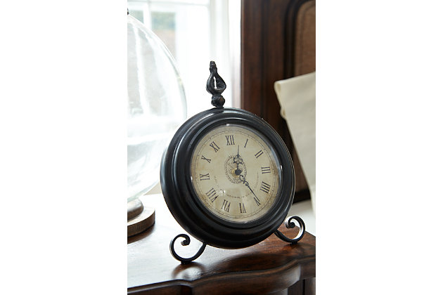 Black Home Accents Table Clock View 1