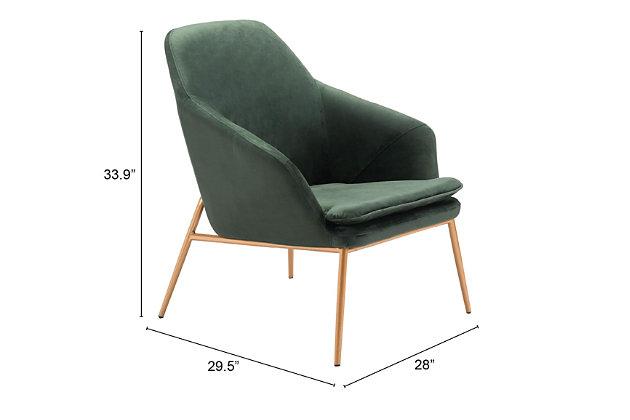 Modern Debonair Green Arm Chair, Green, large