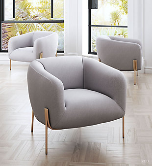 Modern Micaela Gray Arm Chair, Gray, rollover
