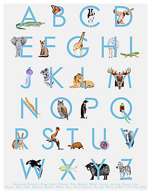 Oopsy Daisy Animal Kingdom ABC's - Blue by Brett Blumenthal Posters That Stick, Blue, rollover