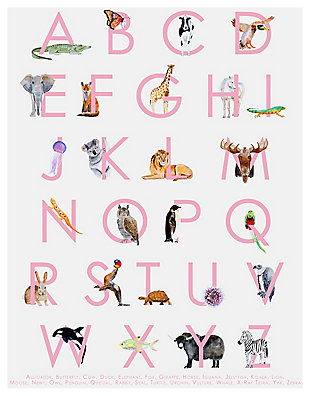 Oopsy Daisy Animal Kingdom ABC's - Pink by Brett Blumenthal Posters That Stick, Pink, rollover