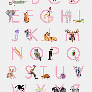 Oopsy Daisy Animal Kingdom ABC's - Pink by Brett Blumenthal Posters That Stick, Pink, large