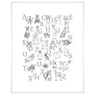 Oopsy Daisy Baby Animal Alphabet - Cadet by Nicky Quartermaine Scott Art Prints, Blue, large