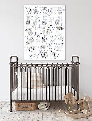 Oopsy Daisy Baby Animal Alphabet - Cadet by Nicky Quartermaine Scott Canvas Wall Art, Blue, rollover