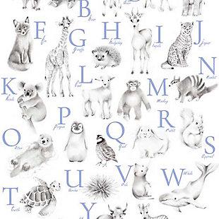 Oopsy Daisy Baby Animal Alphabet - Cadet by Nicky Quartermaine Scott Canvas Wall Art, Blue, large