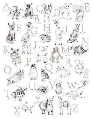 Oopsy Daisy Baby Animal Alphabet - Greige by Nicky Quartermaine Scott Art Prints, , large