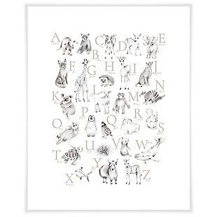 Oopsy Daisy Baby Animal Alphabet - Greige by Nicky Quartermaine Scott Art Prints, , large