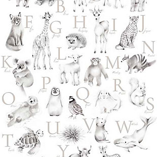Oopsy Daisy Baby Animal Alphabet - Greige by Nicky Quartermaine Scott Art Prints, Gray, large