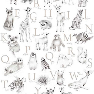 Oopsy Daisy Baby Animal Alphabet - Greige by Nicky Quartermaine Scott Canvas Wall Art, , large
