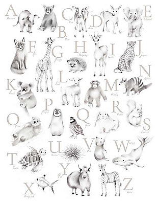 Oopsy Daisy Baby Animal Alphabet - Greige by Nicky Quartermaine Scott Canvas Wall Art, Gray, large