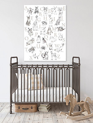Oopsy Daisy Baby Animal Alphabet - Greige by Nicky Quartermaine Scott Canvas Wall Art, Gray, rollover