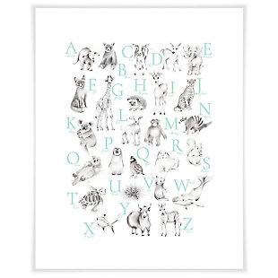 Oopsy Daisy Baby Animal Alphabet - Mint by Nicky Quartermaine Scott Art Prints, Green, large