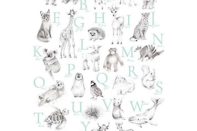 Oopsy Daisy Baby Animal Alphabet - Mint by Nicky Quartermaine Scott Canvas Wall Art, Green, large
