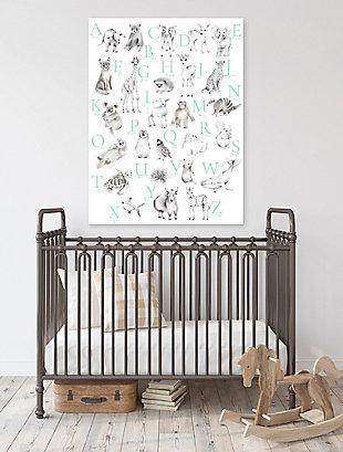 Oopsy Daisy Baby Animal Alphabet - Mint by Nicky Quartermaine Scott Canvas Wall Art, Green, rollover