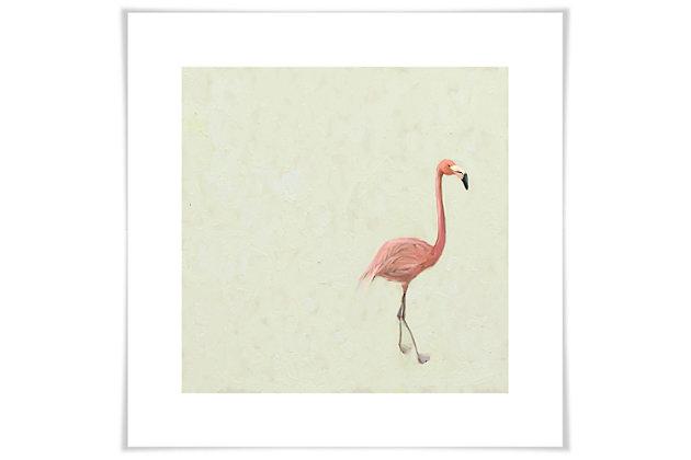 GreenBox Art Flamingo Walk by Cathy Walters Paper Art Prints, Cream, large