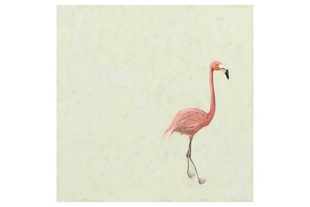 GreenBox Art Flamingo Walk by Cathy Walters Canvas Wall Art, Cream, large