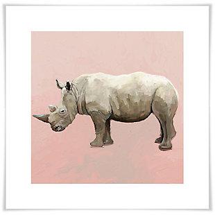 GreenBox Art Rhino On Deep Blush by Cathy Walters Paper Art Prints, Pink, large
