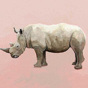 GreenBox Art Rhino On Deep Blush by Cathy Walters Canvas Wall Art, Pink, large