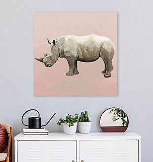 GreenBox Art Rhino On Deep Blush by Cathy Walters Canvas Wall Art, Pink, rollover