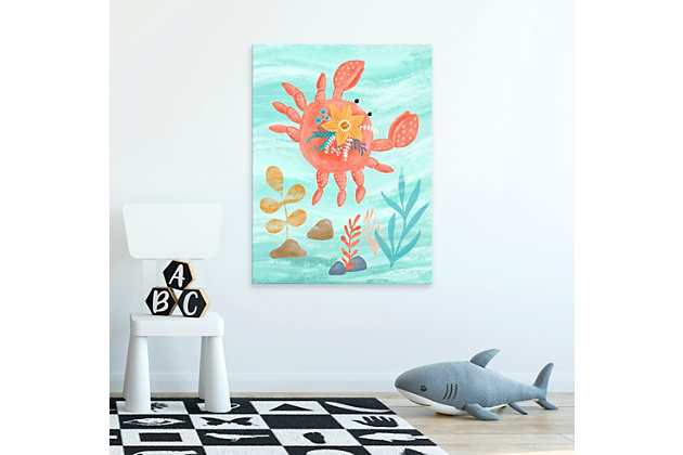 Oopsy Daisy Sea Life Friends - Crab by Olivia Gibbs Paper Art Prints, Blue, large