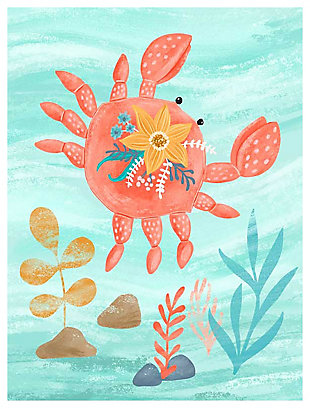 Oopsy Daisy Sea Life Friends - Crab by Olivia Gibbs Canvas Wall Art, Blue, large