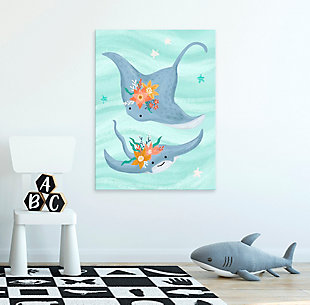 Oopsy Daisy Sea Life Friends - Stingrays by Olivia Gibbs Paper Art Prints, Blue, rollover