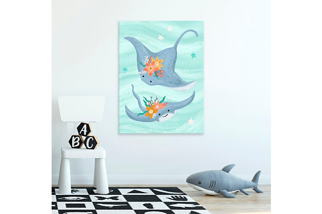 Oopsy Daisy Sea Life Friends - Stingrays by Olivia Gibbs Paper Art Prints, Blue, large