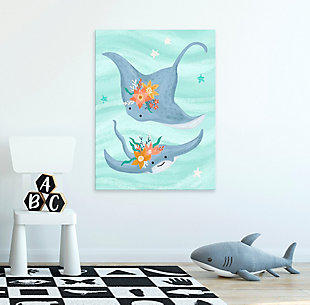 Oopsy Daisy Sea Life Friends - Stingrays by Olivia Gibbs Canvas Wall Art, Blue, rollover