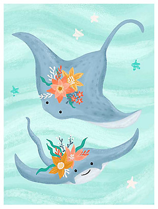 Oopsy Daisy Sea Life Friends - Stingrays by Olivia Gibbs Canvas Wall Art, Blue, large