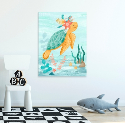 Oopsy Daisy Sea Life Friends - Turtle by Olivia Gibbs Canvas Wall Art, Blue, large