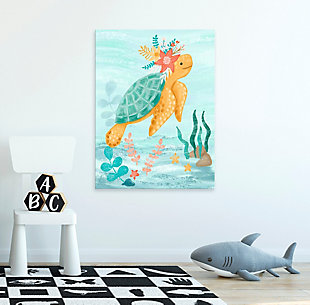 Oopsy Daisy Sea Life Friends - Turtle by Olivia Gibbs Canvas Wall Art, Blue, rollover