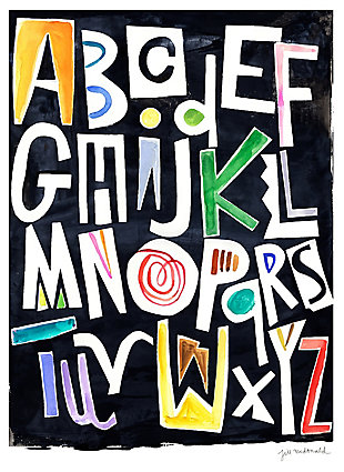 Oopsy Daisy Silk Alphabet Color by Jill McDonald Posters That Stick, Black, rollover