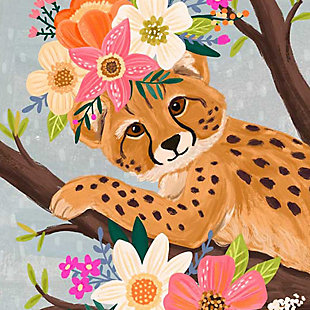 Oopsy Daisy Sweet Cheetah On Branch by Olivia Gibbs Canvas Wall Art, Brown, large
