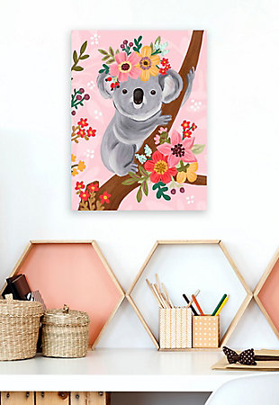 Oopsy Daisy Sweet Koala On Branch by Olivia Gibbs Canvas Wall Art, Pink, rollover