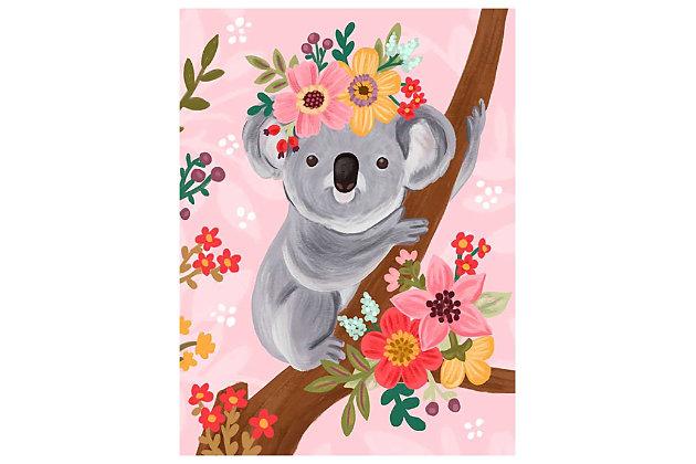 Oopsy Daisy Sweet Koala On Branch by Olivia Gibbs Canvas Wall Art, Pink, large