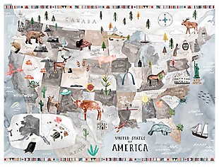Oopsy Daisy Watercolor USA Map - Pastel by Katie Vernon Canvas Wall Murals, , rollover