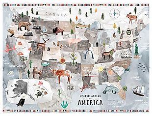 Oopsy Daisy Watercolor USA Map - Pastel by Katie Vernon Canvas Wall Murals, , large