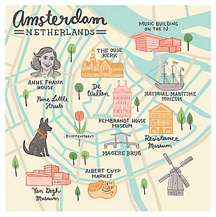 Oopsy Daisy World Traveler - Amsterdam Netherlands by Anne Bollman Posters That Stick, Beige, rollover